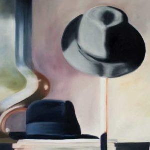 Deux chapeaux, 2011, huile sur toile, 77 x 97 cm.