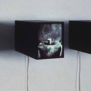 Contenu (triptych), 1991, trois boitiers lumineux, 1/1, chacun 13 x 10 x 28 cm.